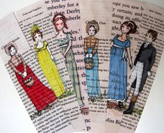 Jane Austen Bookmarks painted on vintage book pages - ©Jess Purser: Castle On The Hill (via Etsy) I Love Books, Good Books, Big Books, Jane Austen Books, Scrapbook, Pride And Prejudice, Book Crafts, Illustrations, Book Worms
