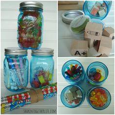 Mason jars hold teacher supplies & treats at shakentogetherlife.com