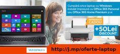 Cumpara un laptop cu Windows preinstalat si ai imprimanta cadou Microsoft Windows, Laptop, Phone, Products, Telephone, Laptops, Mobile Phones, Gadget