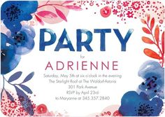 Adult Birthday Party Invitations Lush Bouquet - Front : Capri Blue