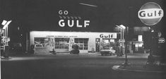 Gulf Station...My husband's best friend worked at his girlfriend's father's Gulf station. We would meet them there and double date on Friday nights.