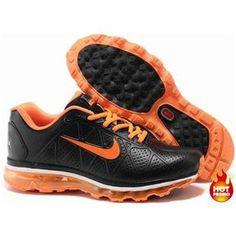 Nike Air Max 2009 Men Leather Shoes Black/Orange