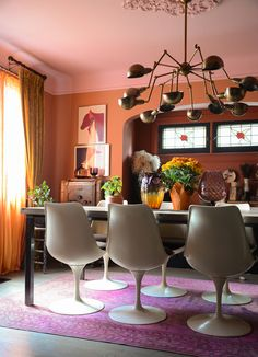 In Ottawa, Ontario, a Bold & Eclectic Melange of Many Styles – Design*Sponge Orange Walls, Red Walls, Farrow And Ball Paint, Farrow Ball, Pink Dining Rooms, Pink Ceiling, Wallpaper Ceiling, Living Room Orange, Pink Table