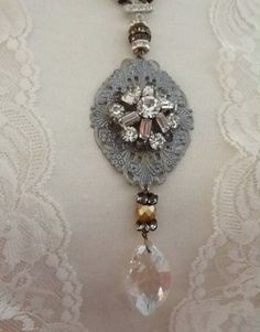 Assemblage Necklace Shabby Chic Rhinestones and Pearls