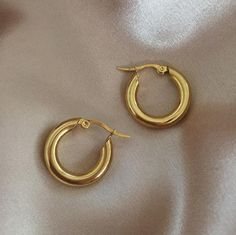 Chunky gold hoop earrings - 4mm thickness. REI Hoops in Gold (Bold Medium) by The Hexad Jewelry