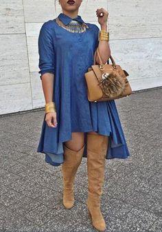 Blue Plain Single Breasted Irregular Swallowtail Pleated Plus Size Turndown Collar Long Sleeve Denim Club Fashion Midi Dress Curvy Fashion, Denim Fashion, Plus Size Fashion, Fashion Outfits, Club Fashion, 1950s Fashion, Classy Fashion, Fashion 2018, Emo Fashion