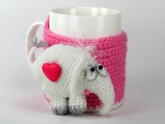 Cup cozy mug cosy crochet cozy crochet elephant crocheted animal tea mug coffee cup kitchen decor White Elephant Cup Cozies, Tea Cosies, Elephant Mugs, White Elephant, Crochet Mug Cozy, Crochet Elephant, Coffee Sleeve, Coffee Cozy, Crochet Animals