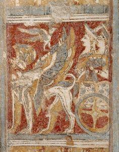 Minoan civilization, 15th century B. C. The Hagia Triada sarcophagus. Detail: goddesses on a chariot.