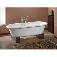 """CheviotProducts Regal 68"""" x 31"""" Soaking Bathtub with Continuous Rolled Rim Feet Finish: Dark Beech, Color: Biscuit Interior with Custom Colour Exte..."""