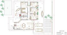 Projeto de casa térrea de 4 quartos com 215,40m²