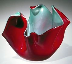 Red Glass: Small Fazzoletto (Handkerchief) Vase by Fulvio Bianconi, designed in 1949 Corning Glass, Corning Museum Of Glass, Crystal Glassware, Glass Vessel, Venetian Glass, Through The Looking Glass, Modern Glass, Red Glass, Resin Crafts