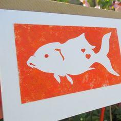 Hand painted Fish greetings card eco-friendly pet lover birthday orange goldfish £3.10