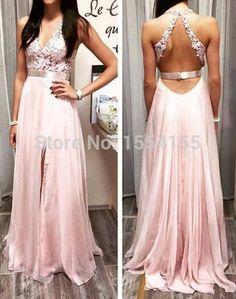 New Fashion Halter Women V Neck Lace Pink Evening Dresses With Belt 2015 Sweep Train Open Back Prom Dress Vestido Noite