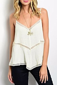 """Boho style top features a flowy silhouette, v-cut neck and cool crochet panel inserts throughout.Style with layered necklaces distressed skinny denim.    Measurements:L: 20"""" B: 40"""" W: 40""""   Cream Crochet Cami by Andree. Clothing - Tops - Tees & Tanks Colorado"""