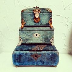 For @DesignSponge challenge. Antique blue velvet Victorian boxes in the personal collection of The Wood and Watch. TheWoodandWatch.com #DSCollections.