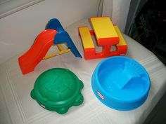 Little Tikes Dollhouse Turtle Sandbox, Pool, Picnic Table & Slide.  I wish they would have had this when I was little!