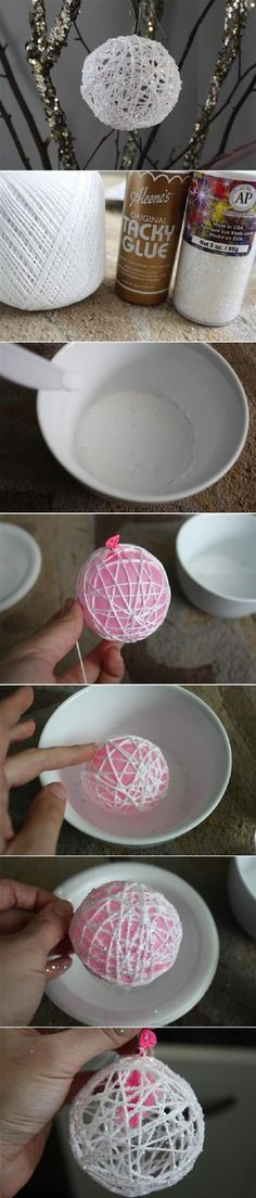 Bauble Idea with twine and glitter, would be good with any colour glitter.