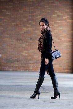 All black w/Leopard scarf