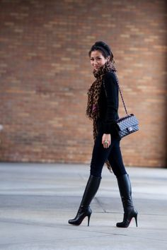 All black w/Leopard scarf