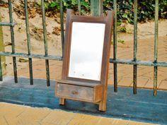 Art Deco Vintage Mirror - Wooden Vintage Mirror - Rustic Vintage Beveled Wall Mirror  - Art Deco Mirror With Drawer - European Design 1930s