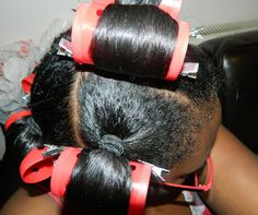 Roller Setting Relaxed Hair | Tags: Heat , Ponytail Rollerset , Transitioning