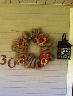 Rustic Sunflower and Burlap wreath for autumn. on Etsy, $50.00