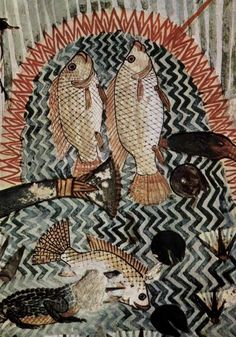 Painting in the tomb of Menna (TT69) - detail of fishing & fowling scene. Dyn 18, reign of Thutmose IV-Amenhothep III