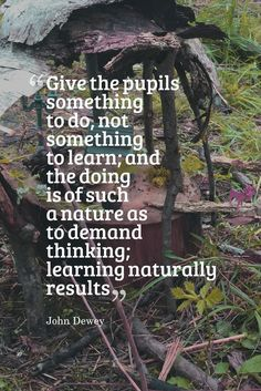 Inspired Professional Learning in and with Nature - Piaget, Dewey, etc. Inquiry Based Learning, Project Based Learning, Kids Learning, Learning Spanish, Early Learning, Mobile Learning, Spanish Lessons, Teaching Quotes, Education Quotes