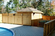Pool Deck with Pressure Treated Fence Halifax Wooden Decks, Pool Decks, Deck Design, Nova Scotia, Outdoor Furniture, Outdoor Decor, Fence, Outdoor Living, Shed