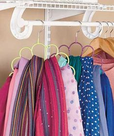 The Set of 2 Scarf Holders ensures your scarves don't get twisted around each other. Each scarf hanger holds 12 scarves. Hangs onto a c