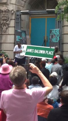 "Official dedication of ""James Baldwin Place"" in honor of the author's 90th birthday August 2, 2014, in Harlem, New York. Photograph via Edward Pavlic on Twitter   Embedded image permalink"