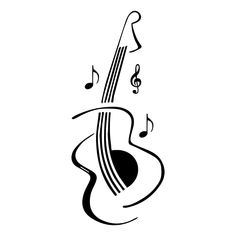 Guitar Musical Notes Music strings Decal outdoor vinyl decal any color Car, Laptap Music Drawings, Music Artwork, Pencil Art Drawings, Easy Drawings, Guitar Drawing, Guitar Art, Tatouage Rock And Roll, Tattoo Musica, Music Notes Art