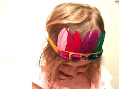 DIY Rainbow Feather Crown for St. Patrick's Day // twinkandsis.com