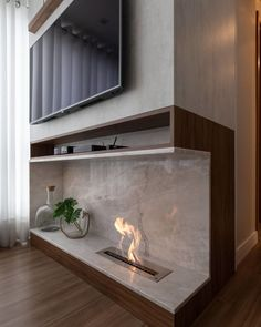Tabletop Fireplaces, Home Fireplace, Modern Fireplace, Fireplace Design, Living Tv, Home Tv, Wall Mounted Tv, House Goals, Tv Unit