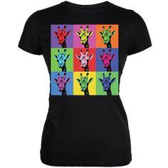Giraffes Pop Art Repeating Squares Black Juniors Soft T-Shirt