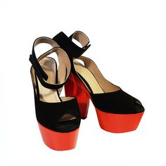 NIB Spring 2012 Celine Suede Lipstick Red Platforms | From a collection of rare vintage shoes at https://www.1stdibs.com/fashion/accessories/shoes/