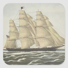 Clipper Ship, Flying Cloud Square Sticker Size: Large, 3 inch. Gender: unisex. Age Group: adult. Sail Boats, Ocean Waves, Artwork Design, Sailing Ships, Custom Stickers, Activities For Kids, Gender, Clouds, Age