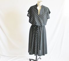 Vintage 60's Black White Polka Dot Dress by perniejaynevintage, $40.00