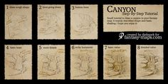 Another small step-by-step tutorial. This one is on how to draw canyons for your fantasy map. Didn't plan to submit this here, but it seems people like . Fantasy map - Step by step tutorial - Canyon Fantasy Map Making, Fantasy World Map, 3d Fantasy, Fantasy Battle, Fantasy City, Drawing Skills, Drawing Techniques, 3d Drawing Tutorial, Drawing Tutorials