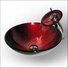 @Overstock - Add a colorful modern touch to your bathroom with this ruby red vessel sink  Bathroom sink features solid tempered glass construction  Stylish bathroom sink is a quick and easy home improvement projecthttp://www.overstock.com/Home-Garden/Vigo-Ruby-Red-Vessel-Sink-and-Matching-Waterfall-Faucet/3239581/product.html?CID=214117 Add to cart to see special price