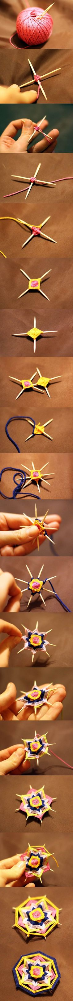DIY Weave a Mandala Brooch with Toothpicks #craft #Mandala #brooch: