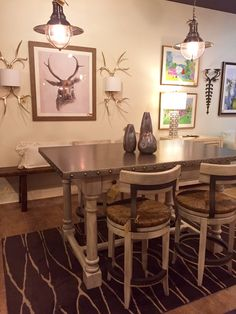 Stylish Counterheight Steel Table With Wooden Legs And Counterheight Stools  To Match! Pendants, Artwork · Tallahassee FloridaWooden ...