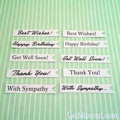 FREE STUDIO print and cut sentiment flags Get well soon Best wishes With sympathy Thankyou