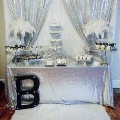 Sparkling #silver glitz #sequins #DessertTable by @sean_favors_with_style! ✨  #wedding #weddingdecorations #bride #decor #weddingplanner #eventplanner #partyplanner…