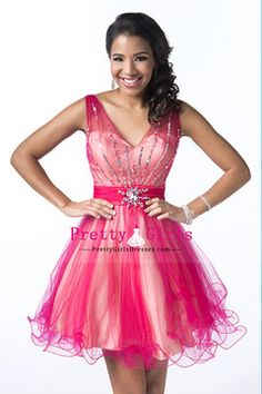 2014 Exquisite Prom Dress V Neck Short/Mini A Line Tulle With Beading And Ruffles
