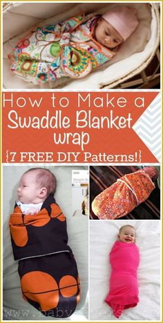 7 different free patterns for  DIY swaddle blankets and wraps. Fits skill levels from novice to advanced!