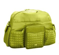 Lug diaper bag! I highly recommend this bag. Yes, it is expensive but very durable and has a ton of special pockets.