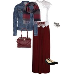 Burgundy and denim long skirt outfit