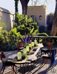 The outdoor dining terrace of designers Andrew Fisher and Jeffry Weisman's Mexican getaway.