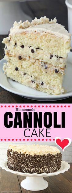 Homemade Cannoli Cake recipe, an easy from scratch Italian cake with cannoli filling. This layered homemade cannoli cake is full of easy to find ingredients including ricotta, mascarpone, orange zest, and mini chocolate chips. Dessert Cannoli, Cannoli Filling, Recipe For Cannoli Cake, Cannoli Chips Recipe, Holy Cannoli, No Bake Desserts, Just Desserts, Delicious Desserts, Dessert Recipes